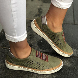 Hollow Out Women's Shoes Hand-stitched Striped Breathable Elastic Band Casual Flat Suitable for Wide Leg Women's Sneaker