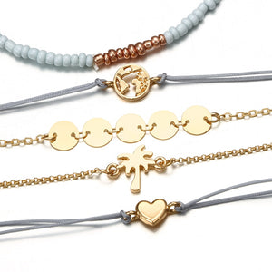 Tocona Bohemian Beads Chain Bracelets Bangles for Women Fashion Vintage Heart Compass Gold Color Chain Bracelets Sets Jewelry