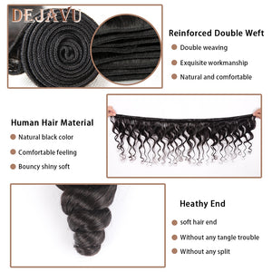 Dejavu Brazilian Hair Weave Bundles With Frontal Closure 13*4 Inch Human Hair 3 Bundle Deals Loose Wave Non-Remy hair