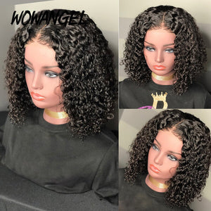 Curly Short Human Hair Wigs 150% Brazilian Remy Water Wave 4*4 Short Bob Lace Closure Wig For Women Frontal Cheap Lace Wig