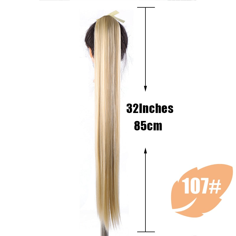 JINKAILI  85cm Super Long Straight Clip In Tail False Hair Ponytail Hairpiece With Hairpins Synthetic Pony Tail Extensions