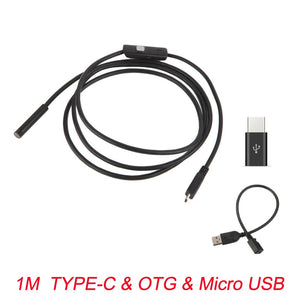 7mm Endoscope Camera Flexible IP67 Waterproof Micro USB Inspection Borescope Camera for Android PC Notebook 6LEDs Adjustable