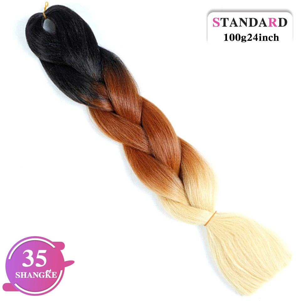 SHANGKE Pink Purple Blue Blonde Ombre Color Synthetic Kanekalon Jumbo Hair Braids Braiding Hair Extension Crochet Braids Women