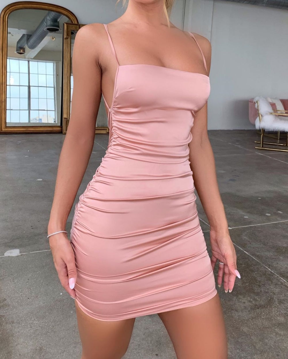 2020 summer Strap Mini Satin Dress Women Sexy Backless Cross Bandage Bodycon Party Dress Pleated Stretch Short Club Dress