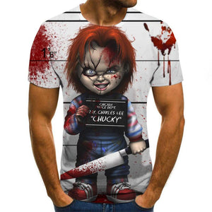 2020 Mens horror T shirts Fashion New Summer Men's Short Sleeve T-shirt Casual 3D Zombie Print Rock Tshirt For Man Full Printed