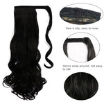 MANWEI women Long straight Real Natural Ponytail Clip in Pony tail Hair Extensions Wrap Around on Synthetic Hair Piece