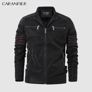 CARANFIER Fashion Winter Leather Jacket Men Stand Collar Motorcycle Washed Retro Velour Leather Jacket European Size Mens Coats