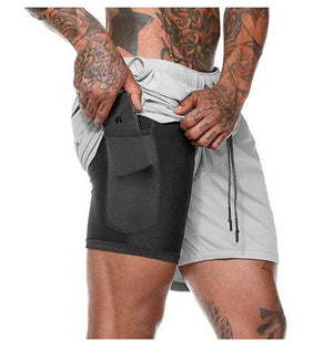Double layer Jogger Shorts Men 2 in 1 Short Pants Gyms Fitness Built-in pocket Quick Dry Beach Shorts Male Sweatpants