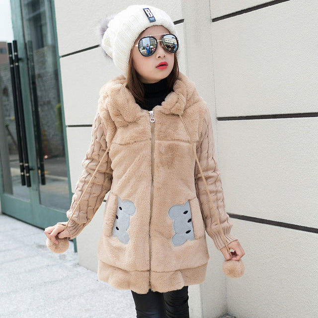 Lovely little bear Winter Girls clothing Faux Fur Fleece Coat Warm Jacket Xmas Snowsuit Outerwear Children kids Clothes parka