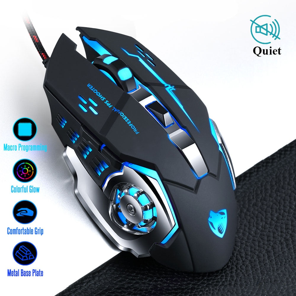 Pro Gamer Gaming Mouse 8D 3200DPI Adjustable Wired Optical LED Computer Mice USB Cable Silent Mouse for laptop PC-BUYALL20