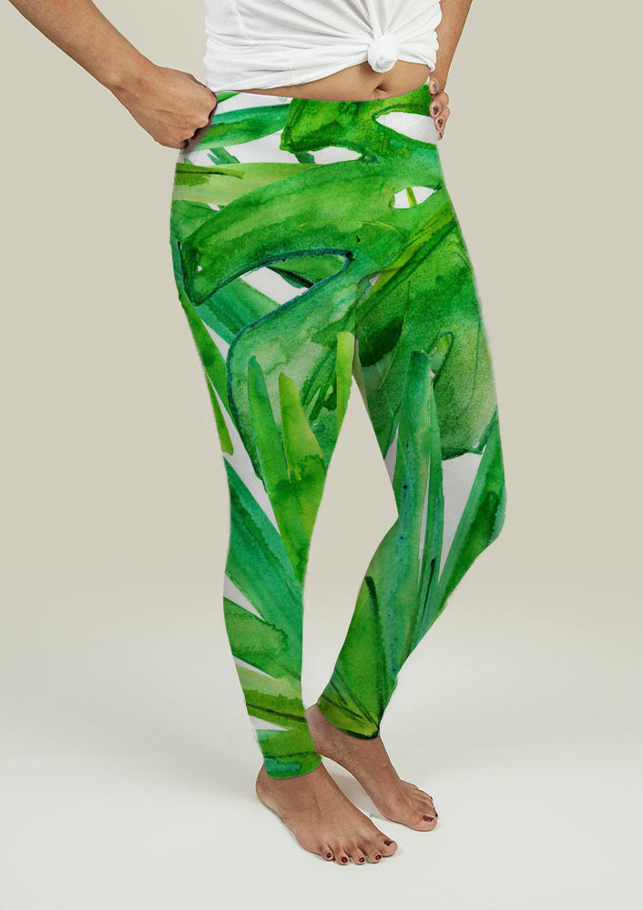 Leggings with Tropical leaves-BUYALL20