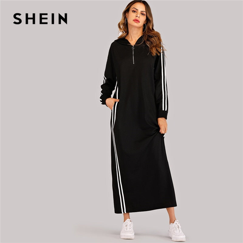SHEIN Black Striped Tape Zip Up Hoodie Sweatshirt Dress Women 2019 Autumn Long Sleeve Leisure Casual Straight Long Dresses-BUYALL20