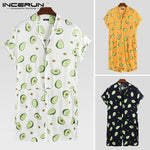 INCERUN Men's Casual Avocado Print Short Sleeve Rompers Street Wear Holiday Hawaiian Jumpsuit Breathable Fresh Men Overalls 5XL-BUYALL20