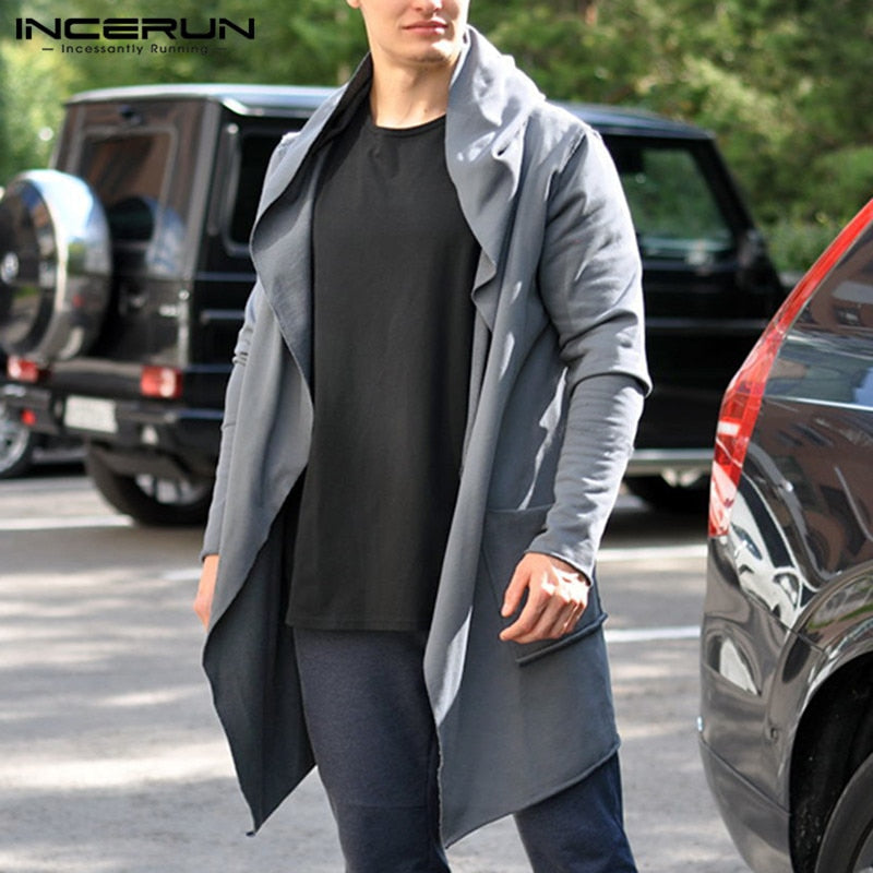 INCERUN Mens Chic Jackets Spring Autumn Hooded Trench Cardigan Pure Color Social Loose Men Long Coat Hoodies Masculino Abrigos-BUYALL20