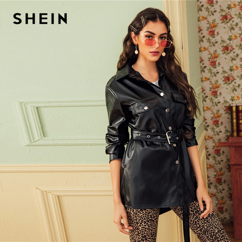 SHEIN Black Dual Pocket Button Front Belted Casual PU Coat Women 2019 Autumn Streetwear Faux Leather Long Sleeve Outwear Coats-BUYALL20