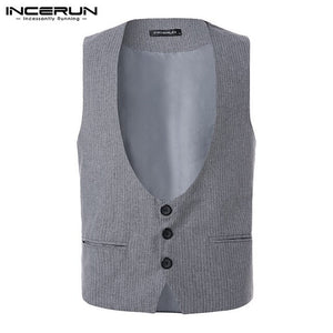 INCERUN Wedding Dress Men Fashion Design Suit Vest High-end Men's Business Casual Vest Pinstripe Casual Dress Suit Waistcoats-BUYALL20