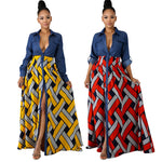 V-neck African Dresses for Women Fake 2 Pieces Long Denim Dashiki Bazin Riche Ethnic National Print Sprit Dress Outfit-BUYALL20