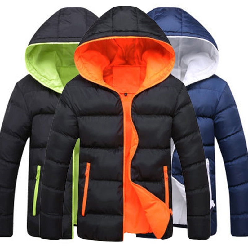 Hot Winter Outwear Padded Coat Zipper Warm Men Hooded Jacket Fashion Thick Slim Boy Coat-BUYALL20