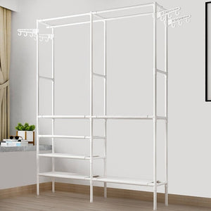 Simple Style Clothes Rack Floor Standing Clothes Hanging Colorful Storage Shelf Clothes Hanger Racks Couple Bedroom Furniture-BUYALL20
