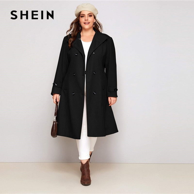 SHEIN Plus Size Black Double Button Self Tie Coat Women Autumn Winter Waterfall Neck Solid Elegant Outwear Long Pea Coats-BUYALL20