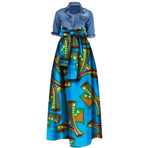 African Print Dresses for Women 2020 News Wax Fabric Skirts Traditioanal Dashiki Bazin Plus Size Party Fashion African Clothes-BUYALL20