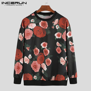 Streetwear Men Chic Flower Print Long Sleeve Casual Round Collar Pullover Tops Fashion Comfort Baggy Mens Brand T-shirt INCERUN-BUYALL20