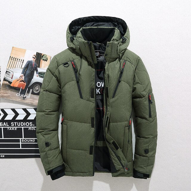 New Design Quality Winter Jacket Men Hooded Thick Duck Down Parkas Casual Drawstring Coat Slim Pockets Overcoat Luxury Clothes