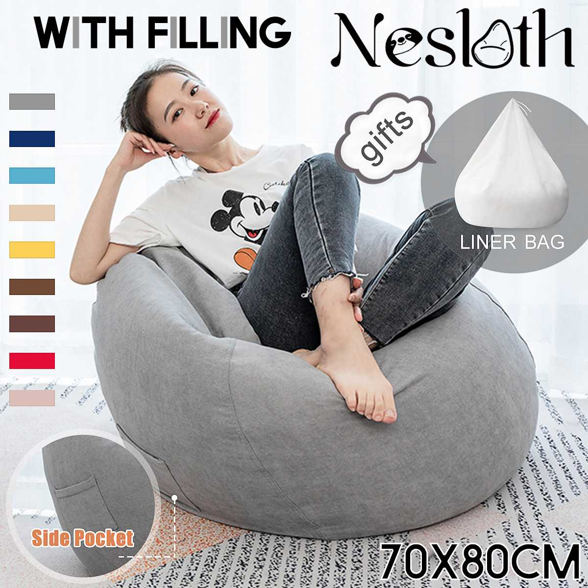 Nesloth Full Lazy BeanBag Sofas Chairs with Inner Liner&EPS Filler Lounger Seat Bean Bag Pouf Puff Couch Tatami Living Room Mini-BUYALL20