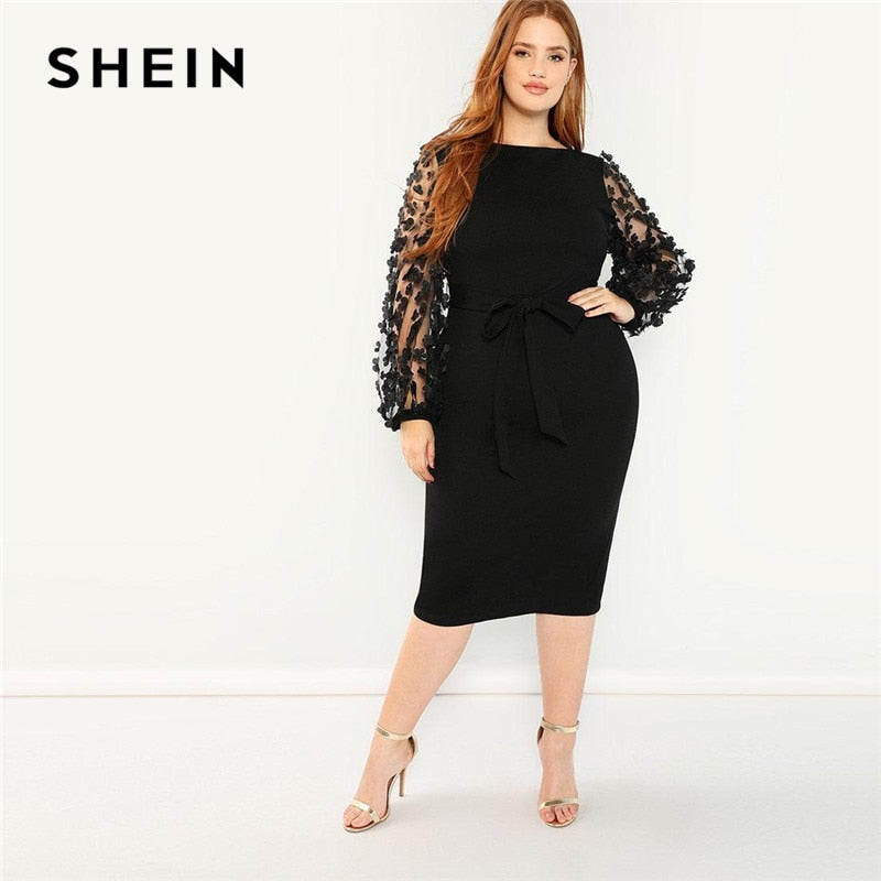 SHEIN Women Plus Size Elegant Black Pencil Dress With Applique Mesh Lantern Sleeve High Street Belted Slim Fit Party Dresses-BUYALL20