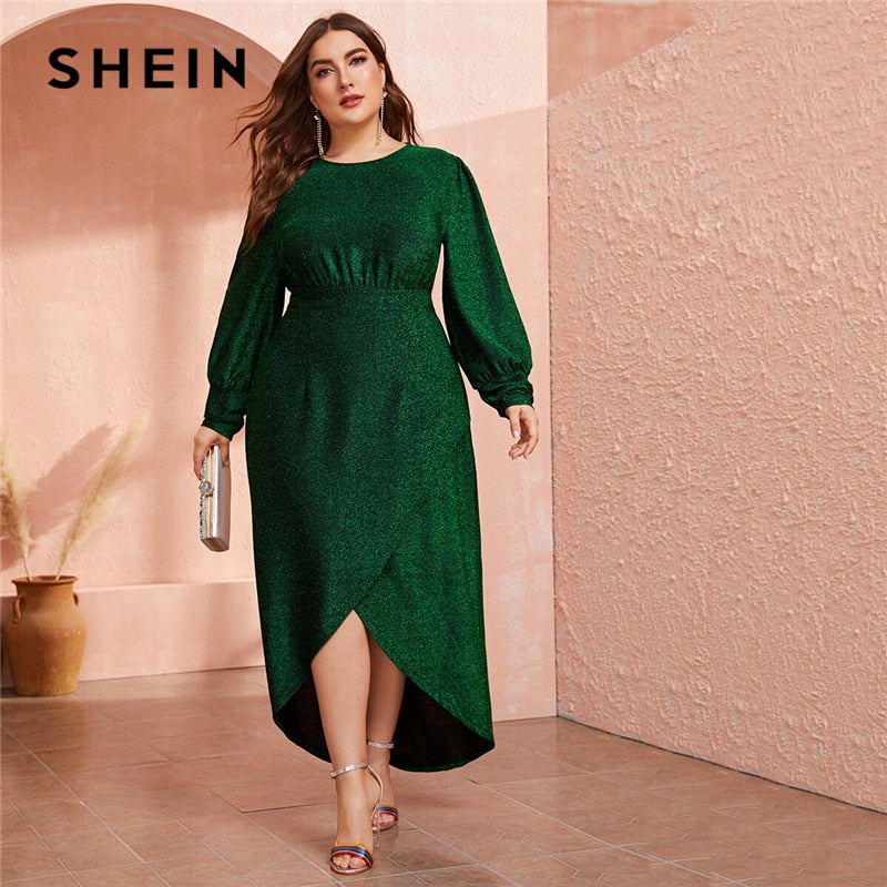 SHEIN Plus Size Green Lantern Sleeve Wrap Dip Hem Glitter Maxi Dress Women Autumn High Waist A Line Party Glamorous Dresses-BUYALL20