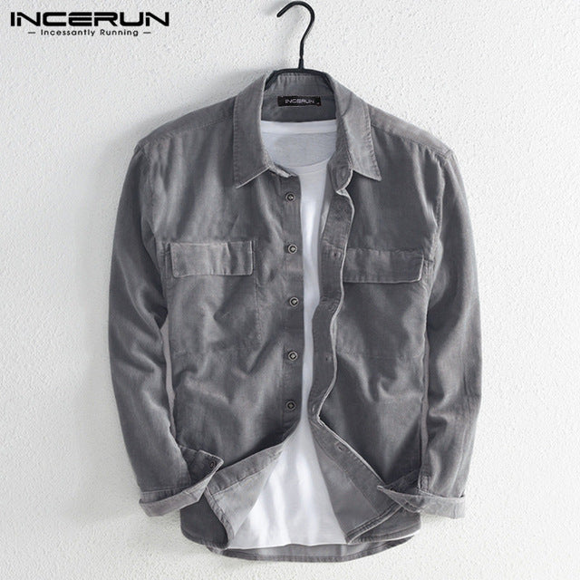 INCERUN Fashion Corduroy Shirt Men Solid Lapel Long Sleeve Casual Jackets Shirts Japanese Harajuku Mens Button Outerwear Coats-BUYALL20