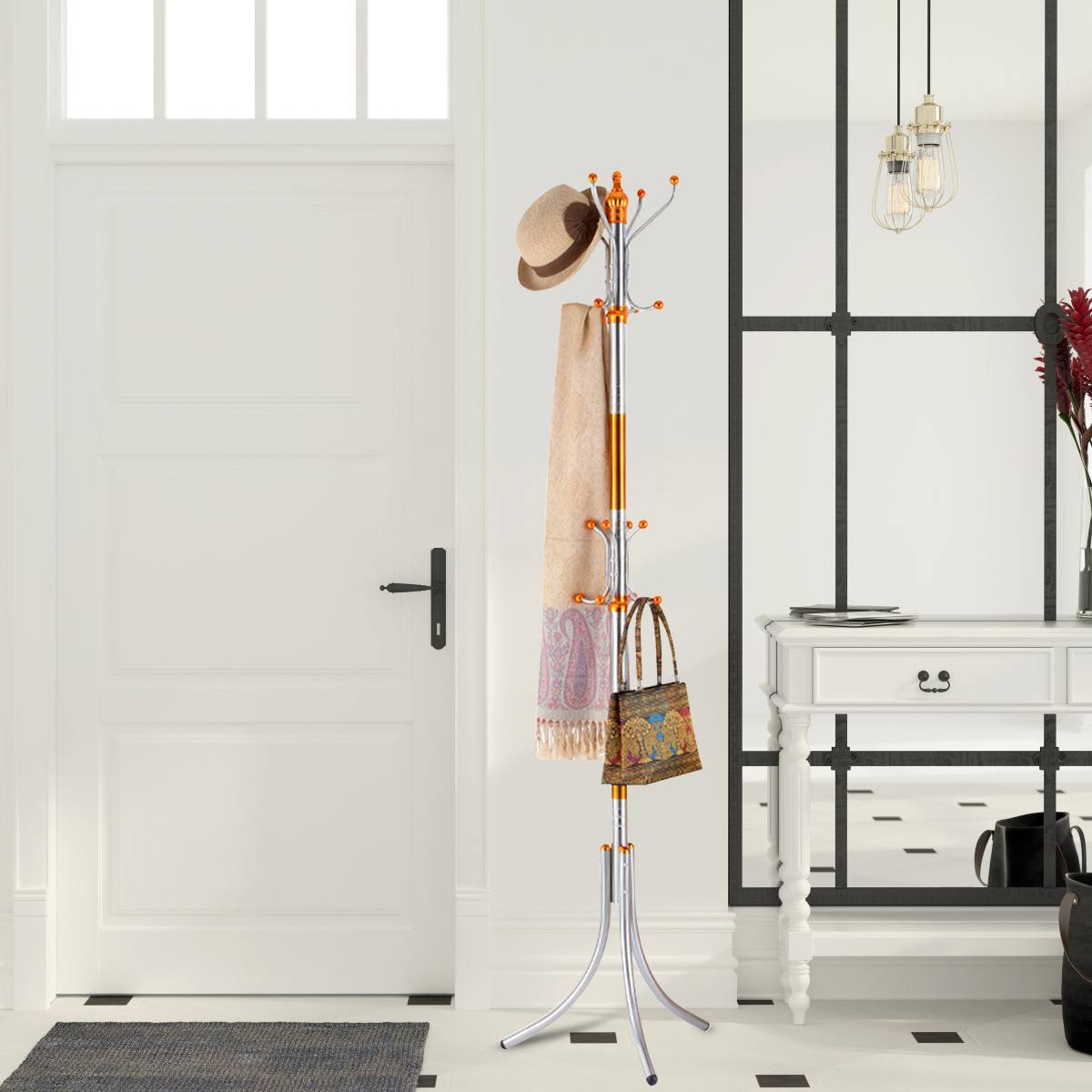 New Assembled Metal Hangers Living Room Hat Display Stand Floor Coat Rack Multi Hooks Clothes Hanger Bedroom Clothing Organizer-BUYALL20