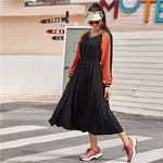 SHEIN Striped Neck Colorblock Drawstring Waist Textured Knit Dress Women Spring Long Sleeve Sporting Casual Long Dresses-BUYALL20