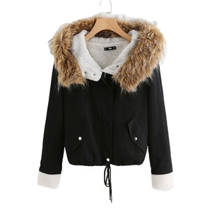 SHEIN Fleece Lined Jacket With Faux Fur Trim Hood Cotton Outerwear Coats Casual Black Winter Hooded Womens Coat-BUYALL20