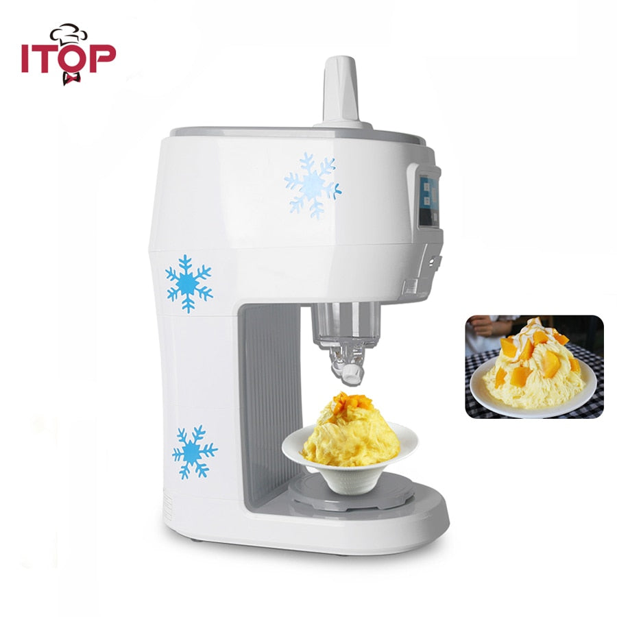ITOP 300W Semi-automatic Snowflakes Ice Crusher Shaved Machine Fruit Juice Store Electric Smoothies Snowflake Maker 70kgs/h-BUYALL20