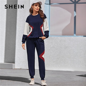 SHEIN Navy Color Block Pullover and Sweatpants Two Pieces Set Women Spring Autumn Active Wear Drop Shoulder Casual Suit Sets-BUYALL20