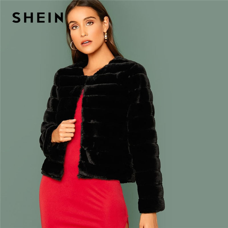 SHEIN Black Open Front Faux Fur Coat Women Winter Long Sleeve Highstreet Ladies Solid Glamorous Outwear Party Coats-BUYALL20
