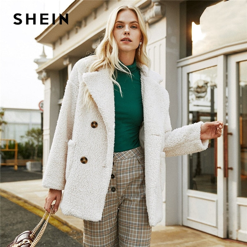 SHEIN Beige Double Button Pocket Teddy Coat Women Winter Long Sleeve Solid Lapel Collar Drop Shoulder Casual Outwear Coats-BUYALL20
