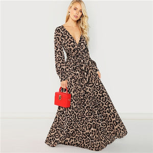 SHEIN Multicolor Party Sexy Surplice Neck Leopard Print Overlap Long Sleeve Dress 2018 Autumn Streetwear Women Maxi Dresses-BUYALL20