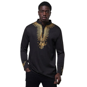 Fadzeco African Plus Size Clothes Dashiki 2019 New Men's Top Color Tribal Male Top Gold Lace Casual Shirt Classic African Outfit-BUYALL20