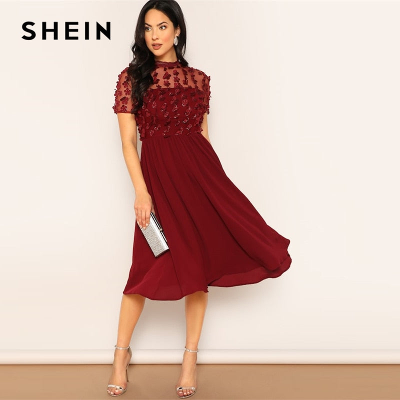 SHEIN Burgundy Mesh Insert Flower Applique Flare Plain Dress Women Spring Elegant Short Sleeve Stand Collar Midi Dresses-BUYALL20