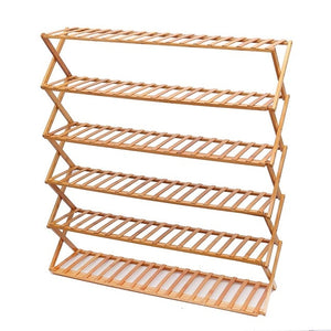 Folding Bamboo Shoes Rack Organizer Stand Holder 3/6 Layers Portable Shoes Cabinet Rack Home Office Storage Shelf Furniture-BUYALL20