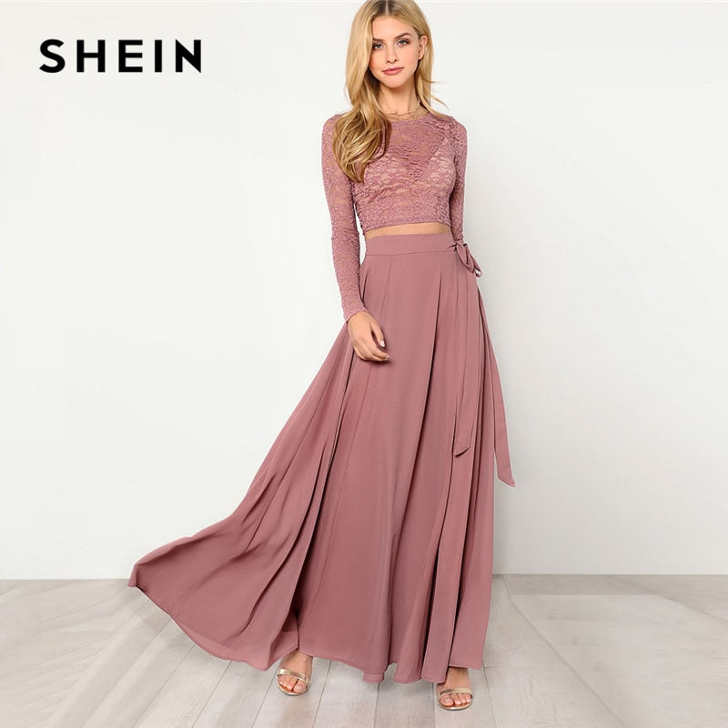 SHEIN Pink Crop Lace Top Knot Skirt Set Women Round Neck Long Sleeve Belt Elegant Two Pieces Sets 2018 Spring Plain Twopiece-BUYALL20