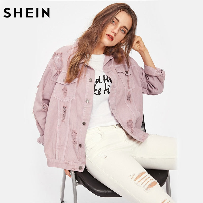 SHEIN Rips Detail Boyfriend Denim Jacket Autumn Womens Jackets and Coats Pink Lapel Single Breasted Casual Fall Jacket-BUYALL20