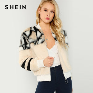 SHEIN Multicolor O-Ring Zip Up Faux Fur Coat Casual Stand Collar Long Sleeve Highstreet Outerwear Women Winter Short Coats-BUYALL20