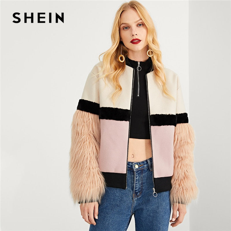 SHEIN Multicolor Highstreet Office Lady Zip Up Faux Fur Sleeve Plaid Notched Coat 2018 Autumn Elegant Women Coat Outerwear-BUYALL20