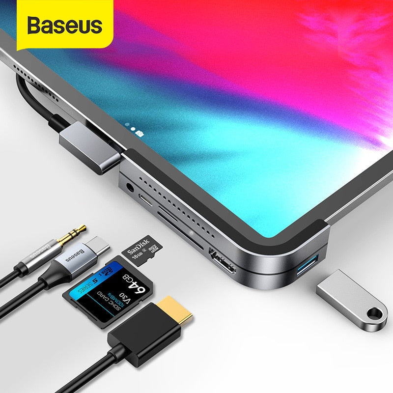 Baseus USB C HUB to USB 3.0 HDMI USB HUB for iPad Pro Type C HUB for MacBook Pro Docking Station Multi 6 USB Ports Type-C HUB-BUYALL20