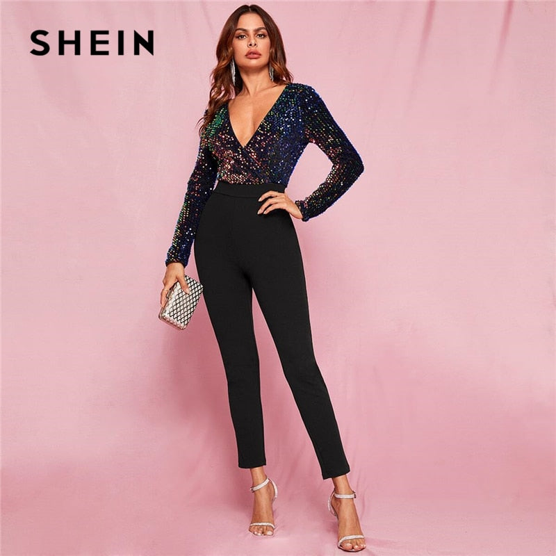 SHEIN Black Glamorous Zip Back Plunge Neck Sequin Skinny Combo Jumpsuit Women Spring Colorblock Wrap High Waist Sexy Jumpsuits-BUYALL20