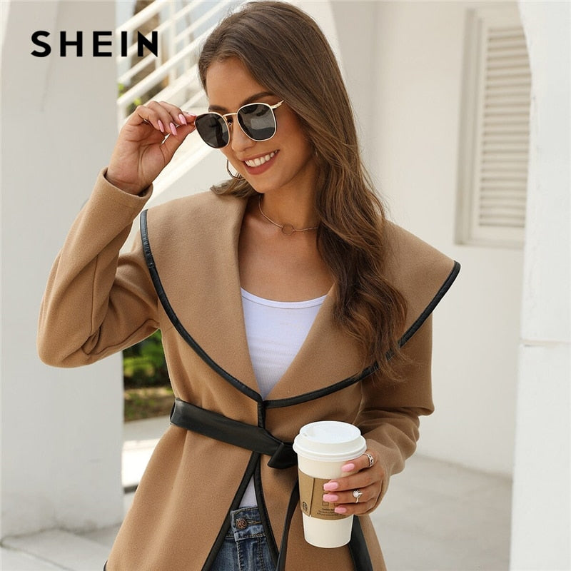 SHEIN Solid Contrast Binding Waterfall Collar Casual Coat With Belt Women 2019 Autumn Streetwear Long Sleeve Ladies Outwear-BUYALL20