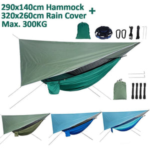 Outdoor Mosquito Net Hammock Tent With Waterproof Anti-UV Canopy Awning Set 190T Polyester Camping Hammock Canopy Sun Shelter-BUYALL20